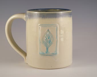 Pottery Mug in White and Blue