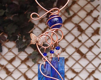 Wind Chimes Butterfly Glass Copper Garden Ornament Art Sculpture Stained Glass Metal Cobalt Blue