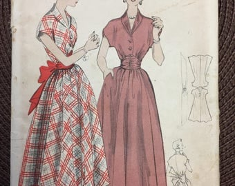Vintage 50's Dress and Sash Sewing Pattern Butterick 4860 Size 12 Bust 30 Complete Uncut