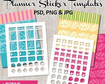 Planner sticker template, commercial use / Erin Condren planner sticker life planner printable DIY templates blank / pastel spring, download