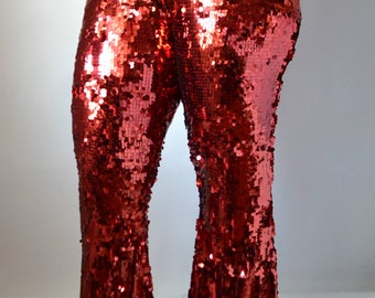 Red Sequin Flare Pants