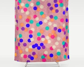 colorful fabric shower curtains-pink-blue-orange-circles-geometric pattern-bathroom decor-home decor