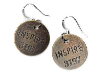 Gift for Teacher, Metal Stamped Earrings, Stamped Jewelry, Statement Jewelry, Inspire Stamped Earrings, Metal Earrings, Yoga Earrings