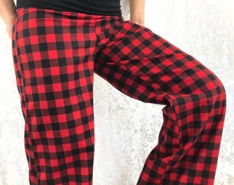 Red Plaid - 100% Cotton Flannel - High Waistband in Bamboo- Party Pajamas by So-Fine
