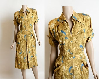 RESERVED Vintage 1940s Dress - Rayon Mermaid Novelty Print Dress with Draped Pockets - Golden Mustard Yellow - Front Pleat Skirt - Small