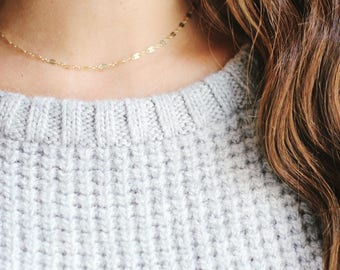 Dapped Chain Choker Necklace | 14k Gold Filled | Sterling Silver | Layer Necklace | Fine Gold Choker