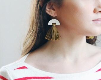 Half Moon Tassel Earrings | Half Moon Earrings | Green Earrings | Holiday Earrings | Tassel Jewelry | Brass Earrings | Sterling Silver