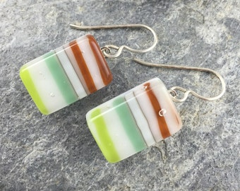 Earthy Handmade Glass Earrings with Sterling Silver Earwires / Fused Glass Jewelry / Bamboo Earring Design / Modern Design made in Texas.