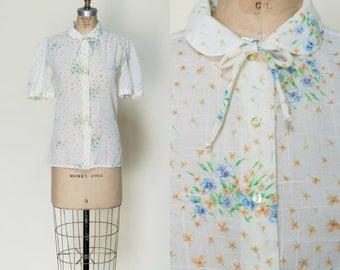 1970s Floral Blouse --- Vintage Cream Button Up Top