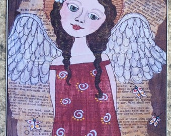 ACEO Print Of OOAK Original Painting - In The Garden Angel - Angels - ATC - Artist Trading Card