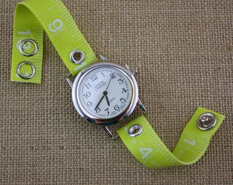 LIMITED TIME ONLY! Tape Measure Watch in Neon Green - Round Face