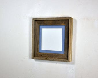 Rustic wood picture frame 8x8 with light blue mat for 6x6 photo complete 20 mat colors to choose from free US shipping