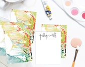 WILD Multi-Colored Marble Custom Stationery   Flat Notes    Set (10)