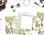 Greens + Dark Purple Marble Custom Stationery   Flat Notes    Set (10)