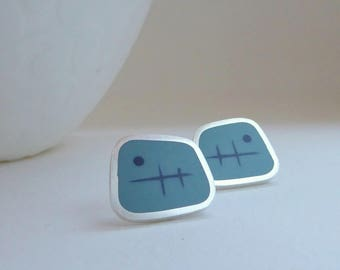 Square Stud Earrings - Aqua Blue Stud Earrings - Blue Resin Earrings - Gift for her - Graphico Atomic