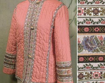 Vintage Asian quilted peach pink + tapestry jacket S