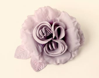 Purple silk open rose, Ultra violet, Millinery flower, Aubergine lavender plum, Amethyst rose, Wedding corsage, Floral supply