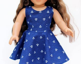 Fits like American Girl Doll Clothes - Navy Anchors Skater Dress, Made To Order