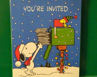 Vintage 1960's Snoopy, Woodstock Christmas Invitations, Party , THE, Date, Time & Place, Charles Schulz retro 60's Peanuts X-Mas Holiday