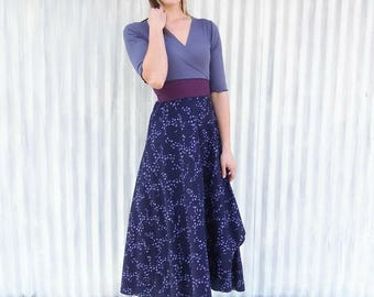 Long Organic Wrap Dress with Sleeves - Bird Print Dress by Yana Dee - Ready to Ship