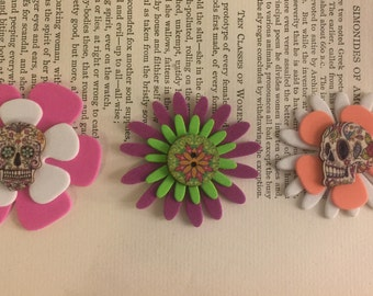 3 skeleton flower sticker charms Art #3 FREE US Shipping
