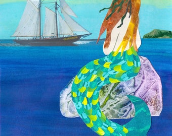 Paper Collage Art Print, Harbour Mermaid  8x10 or 10x13