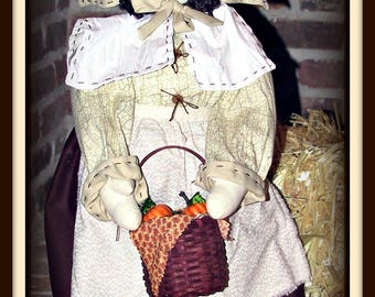 Pleasantly Plump Eunice Thanksgiving Pilgrim Lady Doll Decoration E-Pattern