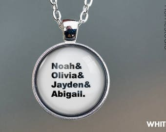 Custom Modern Kid Names : Glass Dome Necklace or Key Ring, Keychain personalized jewelry. Grandkids Mom, Grandma, Nana, Mimi adoption gift