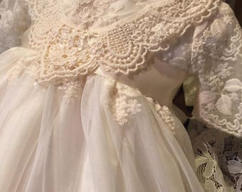 Lily, Ivory English Lace Christening Gown and Cap