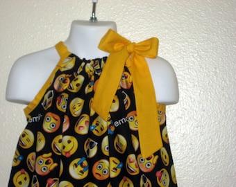 Girls Black Emoji Pillowcase Dress on Yellow Sizes 3M up to 10 years & Pillowcase dress | Etsy pillowsntoast.com