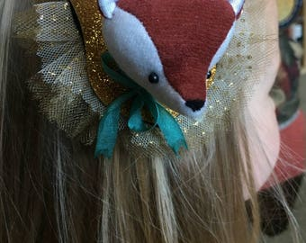 Fox Barrette Fascinator Faux Vegan Taxidermy, soft sculpture, plush forest animal hair accessory brooch pin, gold glitter sparkles burlesque