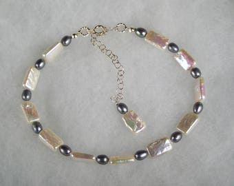 Pearl Anklet - Adjustable white RECTANGULAR pearls and grey rice freshwater pearl Anklet with sterling silver chain and clasp wedding pearls