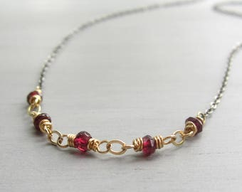 Garnet Layering Necklace, Stacking Necklace, Mixed Metal Dainty Choker, Delicate Garnet Necklace, Boho Gift for Her, January Birthstone