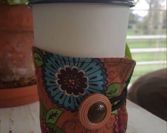 Wrap Around Coffee Sleeve - Aqua and Magenta flowers - Earth Toned