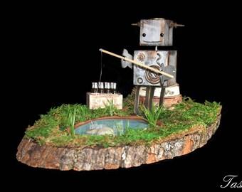 Robot Fishing Sculpture, Steampunk Fathers Day Gift, Robots Wooden Art