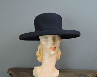 Vintage Hat Wide Brimmed Navy Fabric Hat, fits 22 inch head, 14-1/2 inches wide, Custom Millinery by Bullock's Wilshire, 1960s