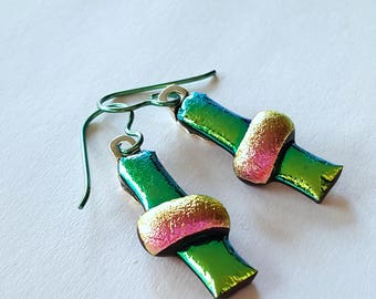 Dichroic Glass Earrings, Lime Green Earrings, Niobium Earrings, Fused Glass Jewelry, Pink and Green, Sterling Leverback Option, Made in USA