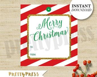 Printable Holiday Gift Tags, Printable Christmas Tags, Printable PDF, Instant Download, Holiday Party, Gift Tags, Happy Holidays