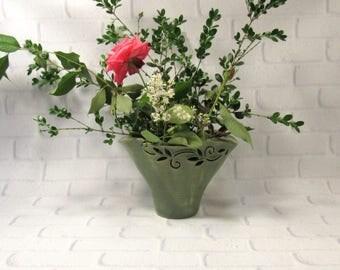 Vase - Ikebana Vase - Decorative Vase - Vase for Ikebana Flower Arrangements - Ceramic Vase - Carved Vase - Fan Vase - Green Pottery Vase