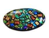 Polymer Clay & Resin Oval Focal Cabochon Artisan Bead Embroidery Pendant Blue Green Cab Handcrafted Bead