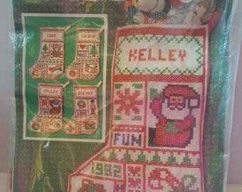 1982 McNeill 4in1 Cross Stitch 8108 Stockings Needlepoint Kit Christmas