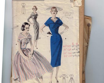 1950s Vintage Sewing Pattern Butterick 7751 Button Front Dress with Slim Full Skirt Wide Collar Size 12 Bust 30 50s B30