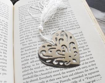 Custom Stamped Filigree Heart Book Mark, Book Lover Metal Gift- Love Heart Valentine Gift Stamped Aluminum Metal Bookmark