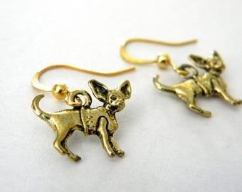 Chihuahua Earrings Gold Color Dangle Earrings Pet Earrings Dog with Sweater