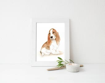 Basset Hound Dog/ Art PRINT/ Watercolor Painting Print/ Dog Wall Art/ Animal Home Decor/ Nursery/Gift for him or her/8x10 print/5x7/11x14