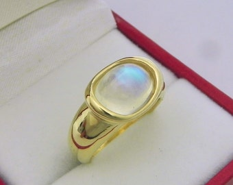 AAAA Blue Moonstone 3.44 carats  10x9mm in 14K Yellow gold bezel set ring.  0264