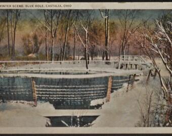 Winter Scene Blue Hole Castalia Ohio White Border Postcard