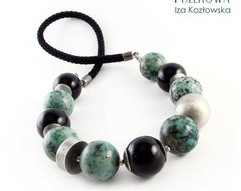 Turqox - necklace with turquoise and onyx