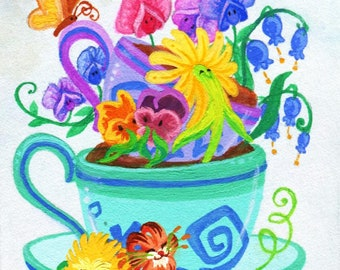 Alice in Wonderland Teacup Garden/ Original Mini Painting/ Singing Flowers