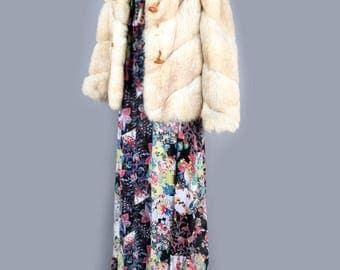 1970's Ivory Tan Real Fox Fur Coat - MEDIUM